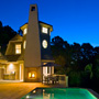 Night time Architectural Photograph of Pool and Tower of Home on Kiawah Island Beach Front