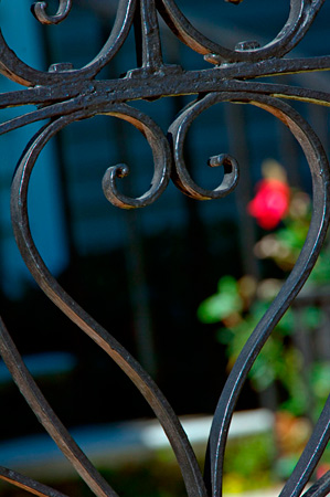Heart shaped ironwork with a rose