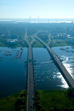 Aerial of Ashley Bridges and the Ashley River and Charleston SC