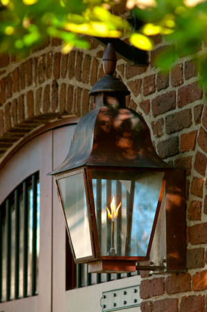 A gas lantern on a South of Broad historic home in Charleston SC