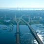 Aerial Photography of the ashley and Cooper River Bridges and Downtown Charleston