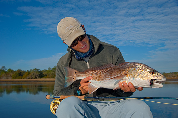 Orvis endorsed guide Captain Jeremy Mehlhaff with a winter Charleston Redfish