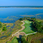 Aerial Photograph of the par 3 17th hole at The River Course on Kiawah Island, and the Kiawah River